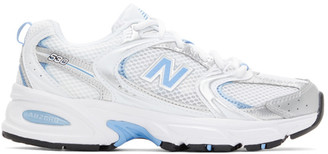 New Balance White and Blue 530 Sneakers