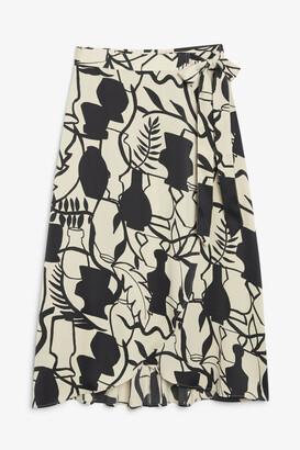 Monki Satin wrap skirt