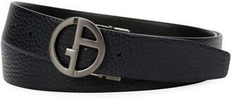 Giorgio Armani Men's Logo-Buckle Textured Vitello Leather Belt