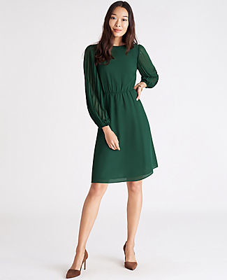 Ann Taylor Pleated Sleeve Flare Dress