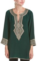 Calypso St. Barth Sythia Embroidered Silk Tunic.