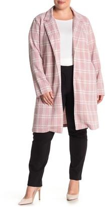 MelloDay Plaid Print Jacket (Plus Size)