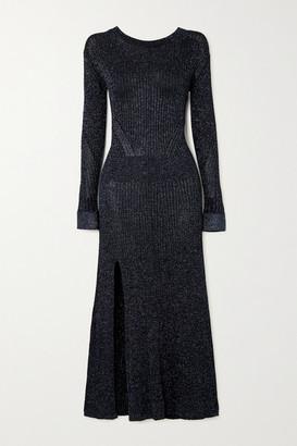 Chloé Metallic Ribbed-knit Midi Dress - Navy