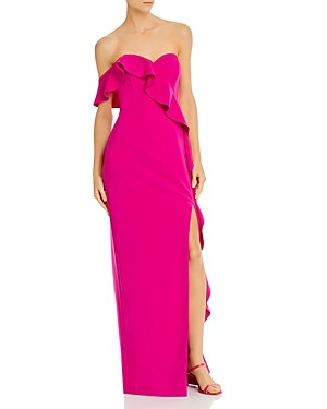 Aidan Mattox Ruffled Strapless Sweetheart Column Gown