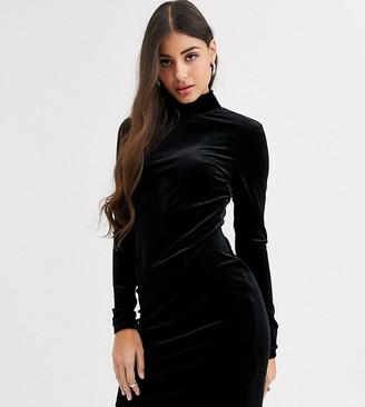 Glamorous Tall high neck bodycon dress in velvet-Black