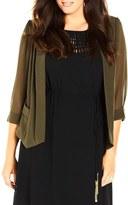 City Chic Drapey Mixed Media Blazer (Plus Size)