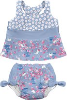 I Play 2 Piece Bow Tankini Set W/Swim Diaper - Light Blue - 12 Months