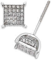 Macy's Men's Diamond Square Cluster Stud Earrings (1/4 ct. t.w.) in Sterling Silver