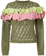 Moschino open knit ruffle top - women - Acrylic/Polyamide/Wool/Alpaca - 42