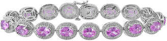 FINE JEWELRY Lab-Created Pink Sapphire with Diamond Accents Sterling Silver Milgrain Link Bracelet