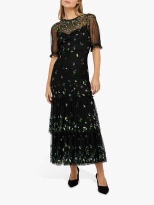 Monsoon Lisbet Floral Embroidery Tiered Midi Dress, Black/Multi