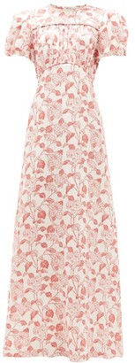 The Vampire's Wife The Keira Liberty-print Silk-satin Dress - Womens - Ivory Red