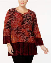 Style&Co. Style & Co Plus Size Printed Velvet Peasant Top, Created for Macy's