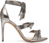 Alexandre Birman Lolita Bow-embellished Metallic Leather Sandals - Silver