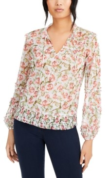 INC International Concepts Inc Printed Peasant Blouse, Created for Macy's