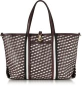 Pierre Hardy Burgundy Polycube Printed Canvas and Leather Tote Bag