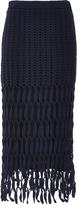 Rosetta Getty Glossed Cotton Nylon Hand Crocheted Mesh Skirt