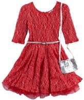 Knitworks Girls 4-6x Red Lace Dress & Purse Set