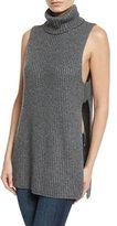 Autumn Cashmere Shaker-Knit Turtleneck Apron Top