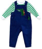 Florence Eiseman Alligator Corduroy Overalls w/ Striped Crewneck Shirt, Size 6-24 Months