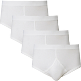 John Lewis Organic Cotton Briefs, Pack Of 4, White