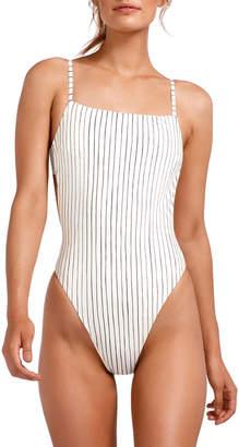 Vitamin A Edie Stripe Adjustable-Strap High-Leg One-Piece Swimsuit
