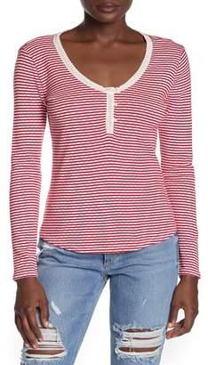 Lucky Brand Stripe Print Long Sleeve Henley