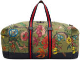 Gucci Green Canvas Flora Snake Duffle Bag
