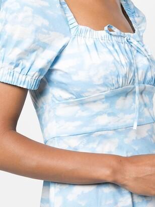 HVN mini Holland cloud-print dress