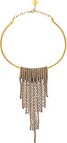 Devon Leigh Mesh Crystal Bar Collar Necklace
