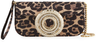 Gedebe Jeni Leopard-Print Satin Clutch Bag