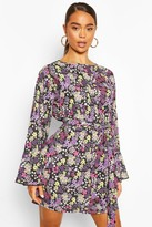 boohoo Floral Print Tie Front Dress With Frill Hem Sleeves