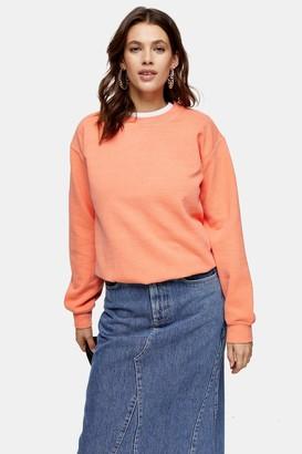 Topshop Womens Fluorescent Orange Sweatshirt - Orange