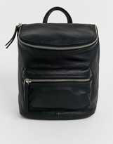 Asos Design DESIGN leather zip detail backpack