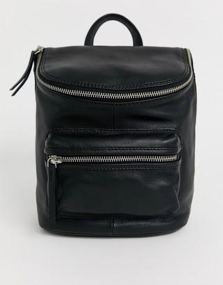 Asos Design DESIGN leather zip detail backpack-Black
