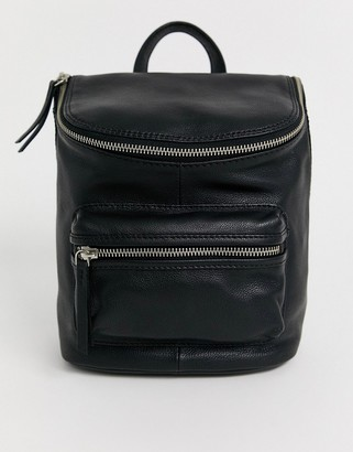 Asos Design DESIGN leather zip detail backpack