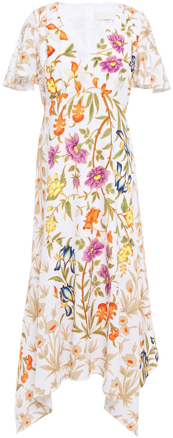 Peter Pilotto Asymmetric Floral-print Cloque Midi Dress