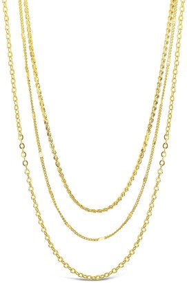 Sterling Forever 14K Gold Plated Dainty Three Layer Chain Necklace
