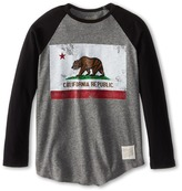 Original Retro Brand The Kids California Flag Raglan Long Sleeve Baseball Tee (Big Kids)