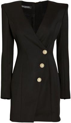 Balmain Wool Wrap Blazer Dress