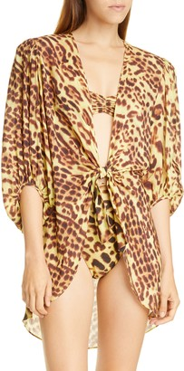 Adriana Degreas Leopard Print Tie Detail Cover-Up