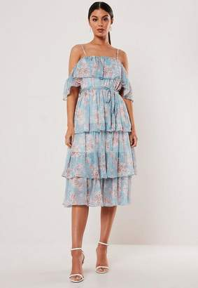 Missguided Blue Floral Cami Tiered Midi Dress