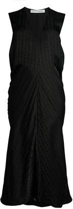Off-White Logo Coulisse Draped Midi Dress