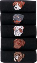 Black Embroidered Dogs Socks Five Pack