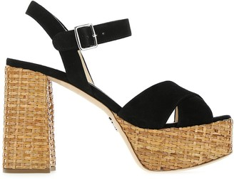 Prada Raffia Block Heel Sandals