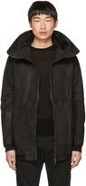 Julius Black Nubuck Hooded Jacket