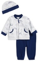 Little Me Infant Boy's Dinos Zip Sweatshirt, Sweatpants & Hat Set