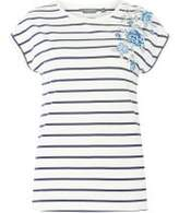 Dorothy Perkins Womens **Tall Navy Striped Embroider T-Shirt