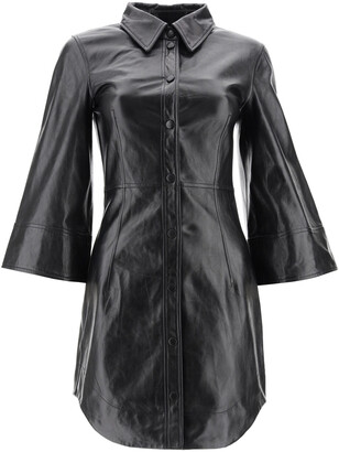 Ganni LEATHER MINI DRESS 34 Black Leather