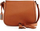 Badgley Mischka Tiffany Large Leather Shoulder Bag, Cognac